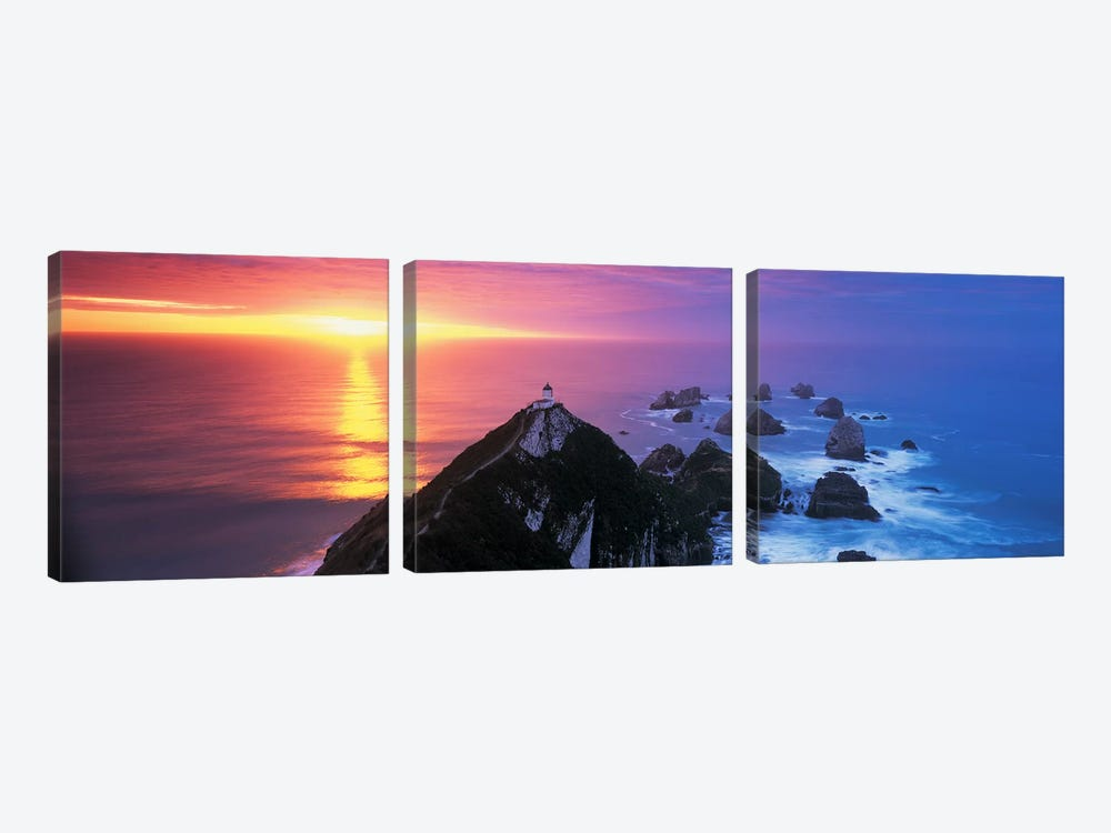SunsetNugget Point Lighthouse, South Island, New Zealand by Panoramic Images 3-piece Canvas Print