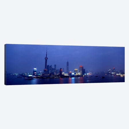 Skyline At Dusk, Lujiazui, Pudong, Shanghai, China Canvas Print #PIM4318} by Panoramic Images Canvas Print