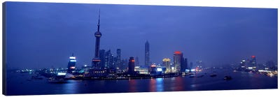 Skyline At Dusk, Lujiazui, Pudong, Shanghai, China Canvas Art Print