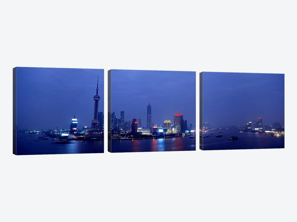 Skyline At Dusk, Lujiazui, Pudong, Shanghai, China by Panoramic Images 3-piece Canvas Art Print