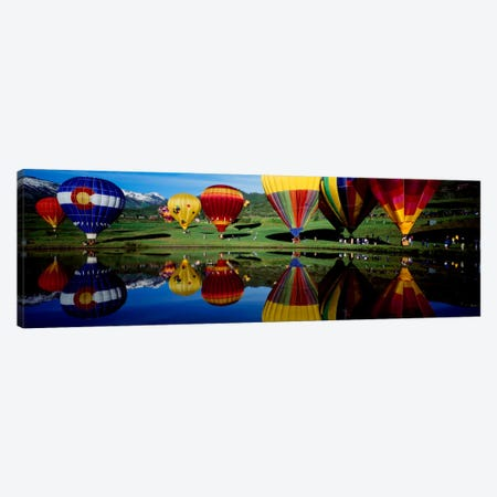 Reflection of hot air balloons in a lake, Snowmass Village, Pitkin County, Colorado, USA Canvas Print #PIM431} by Panoramic Images Art Print