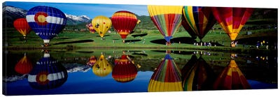 Reflection of hot air balloons in a lake, Snowmass Village, Pitkin County, Colorado, USA Canvas Art Print
