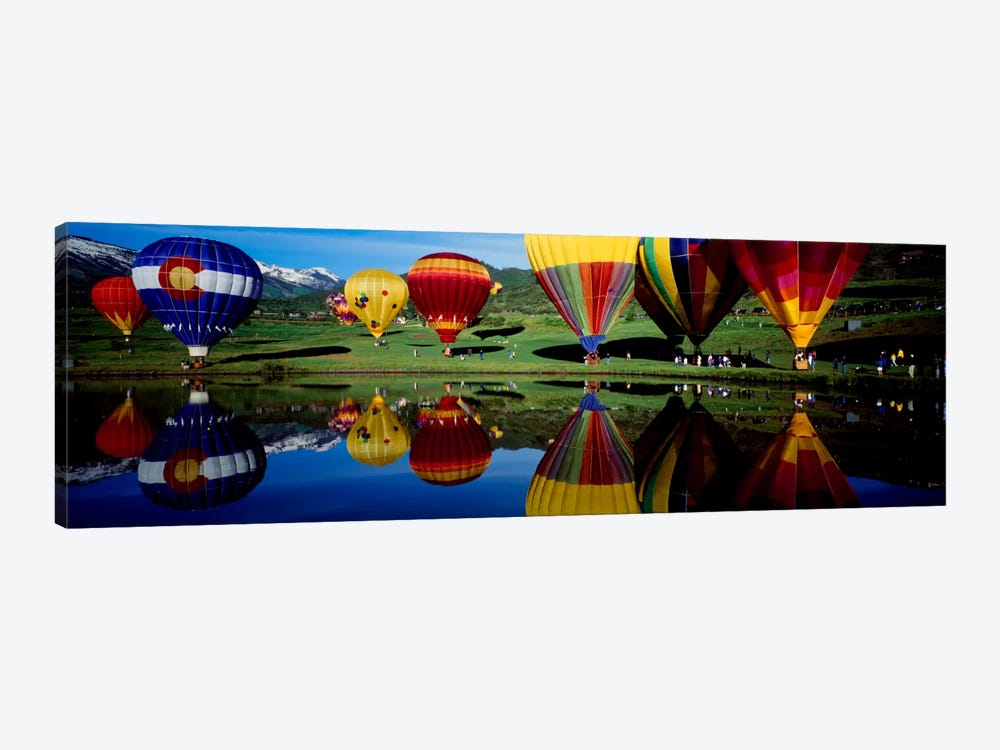 Reflection of hot air balloons in a lake, Snowmass Village, Pitkin County, Colorado, USA by Panoramic Images 1-piece Canvas Print