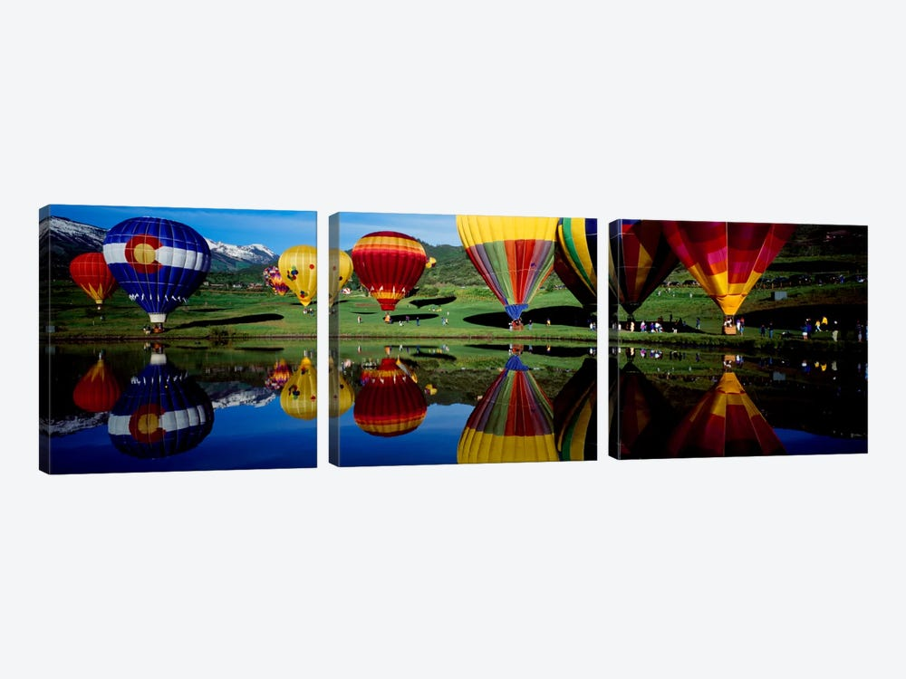 Reflection of hot air balloons in a lake, Snowmass Village, Pitkin County, Colorado, USA by Panoramic Images 3-piece Canvas Art Print