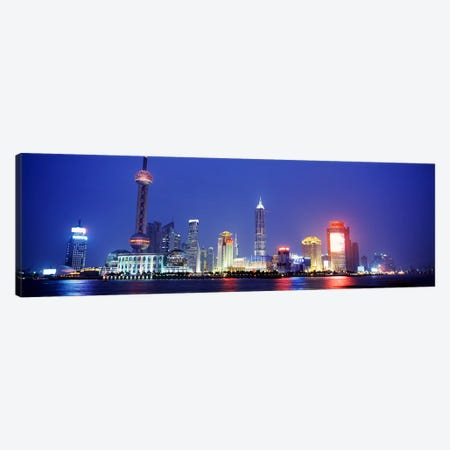 Skyline At Dusk, Lujiazui, Pudong District, Shanghai, People's Republic Of China Canvas Print #PIM4320} by Panoramic Images Canvas Artwork