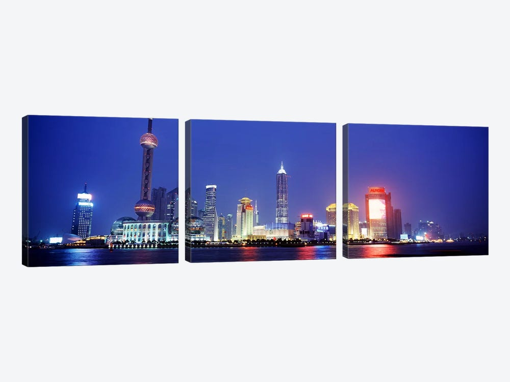 Skyline At Dusk, Lujiazui, Pudong District, Shanghai, People's Republic Of China by Panoramic Images 3-piece Canvas Wall Art
