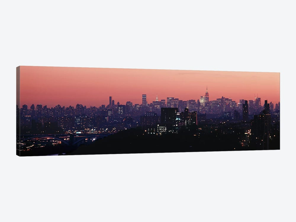 High angle view of buildings lit up at duskManhattan, New York City, New York State, USA by Panoramic Images 1-piece Canvas Art