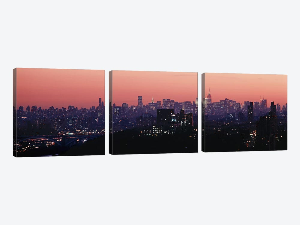 High angle view of buildings lit up at duskManhattan, New York City, New York State, USA by Panoramic Images 3-piece Canvas Artwork