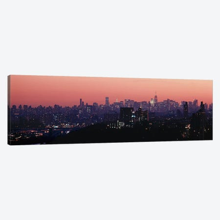 High angle view of buildings lit up at duskManhattan, New York City, New York State, USA Canvas Print #PIM4328} by Panoramic Images Canvas Wall Art