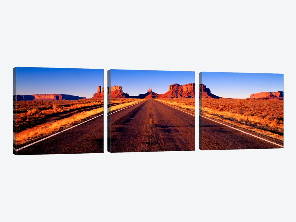 View From U.S. Route 163, Monument Valley, Navajo Nation, Arizona, USA by Panoramic Images 3-piece Canvas Wall Art
