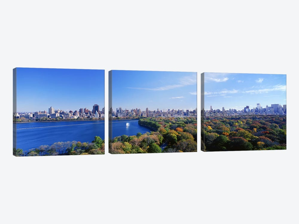 Buildings in a cityCentral Park, Manhattan, New York City, New York State, USA by Panoramic Images 3-piece Canvas Print