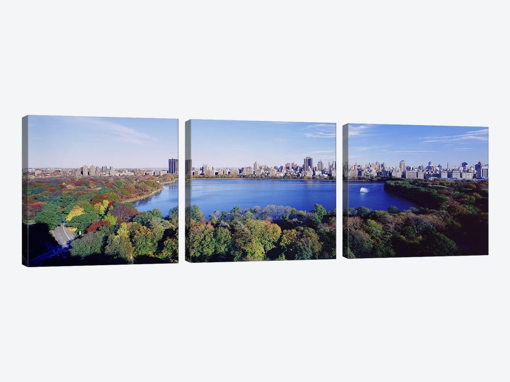 Buildings in a cityCentral Park, Manhattan, New York City, New York State, USA by Panoramic Images 3-piece Canvas Wall Art