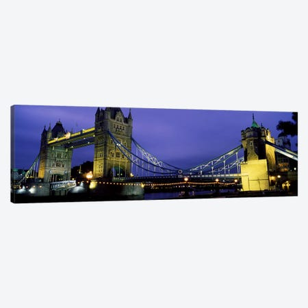 An Illuminated Tower Bridge At Night, London, England, United Kingdom Canvas Print #PIM4334} by Panoramic Images Canvas Art