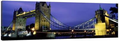 An Illuminated Tower Bridge At Night, London, England, United Kingdom Canvas Art Print