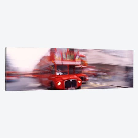 Double Decker Motion Blur, London, England, United Kingdom Canvas Print #PIM4335} by Panoramic Images Canvas Art