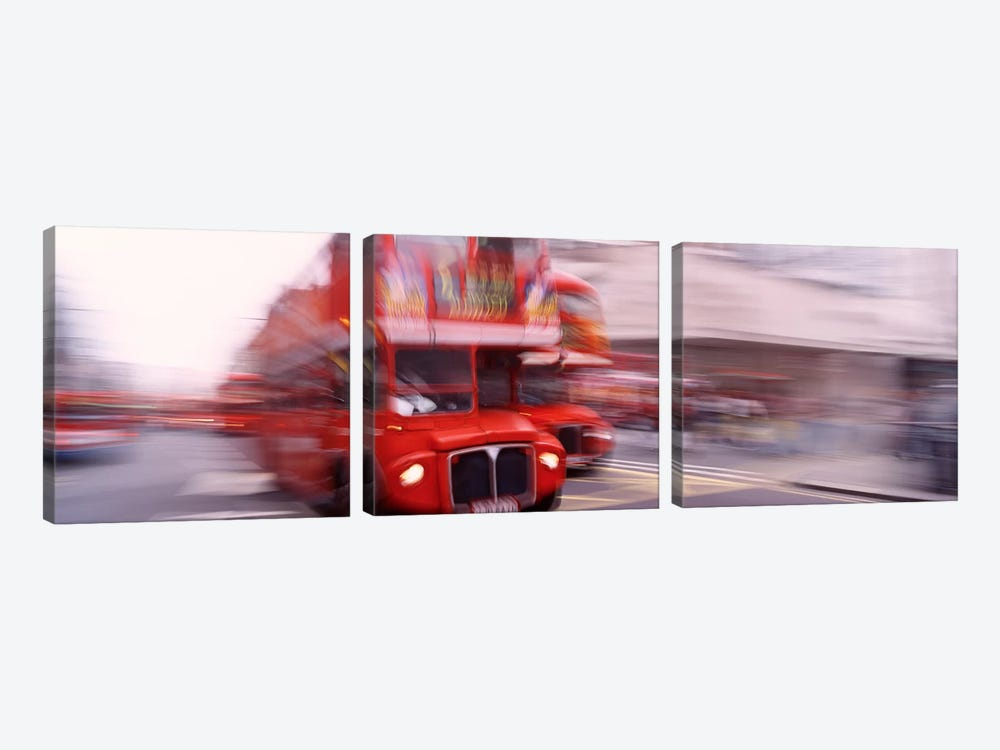 Double Decker Motion Blur, London, England, United Kingdom by Panoramic Images 3-piece Canvas Wall Art