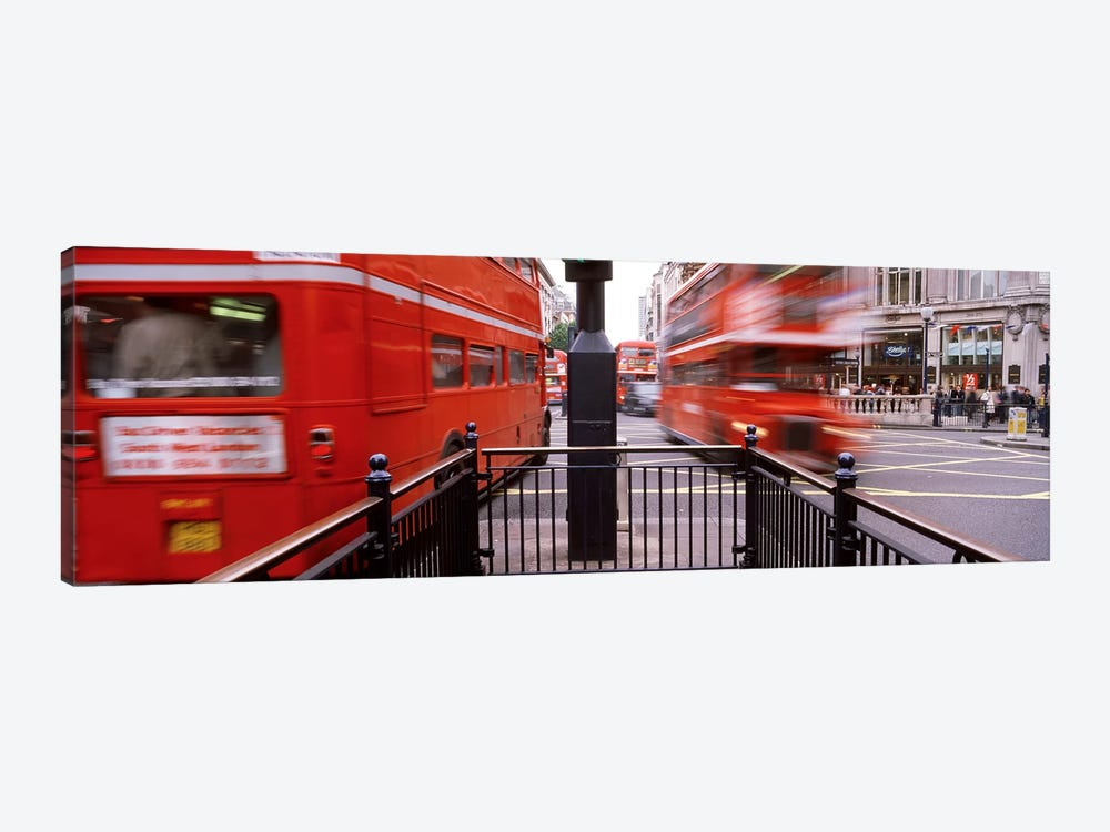 Blurred Motion View Of Double-Decker Buses, Oxford Circus Station Circle, London, England by Panoramic Images 1-piece Canvas Art
