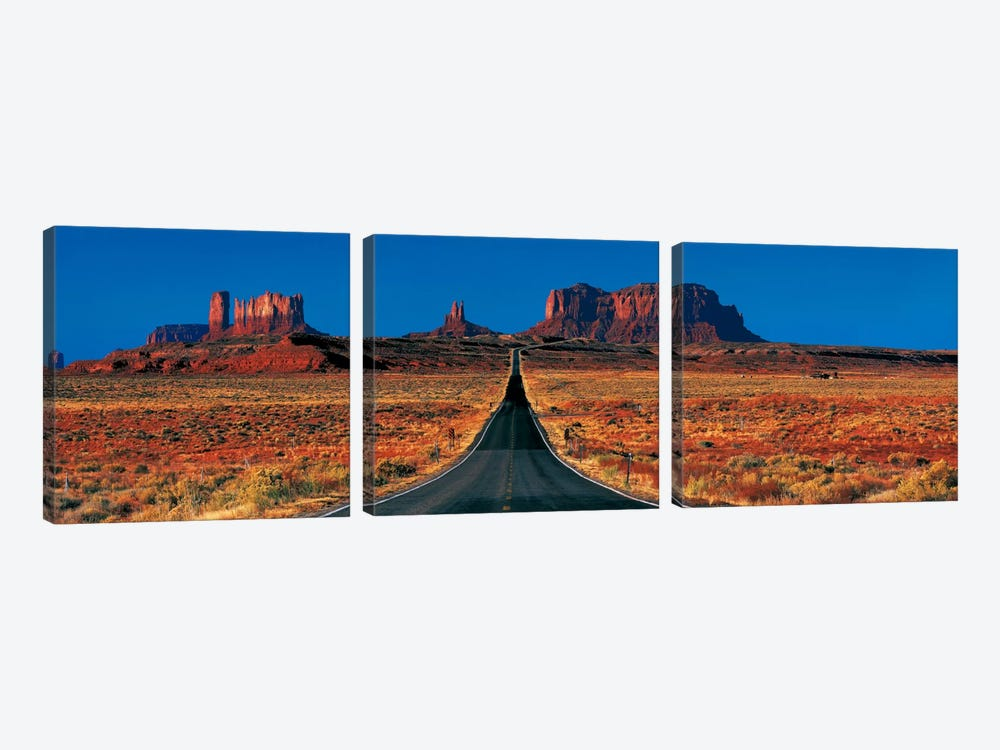 U.S. Route 163 View, Monument Valley, Navajo Nation, Arizona, USA by Panoramic Images 3-piece Art Print