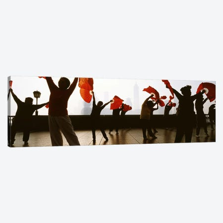Morning Exercise, The Bund (Waitan), Shanghai, China 3-Piece Canvas #PIM4340} by Panoramic Images Canvas Art