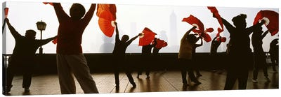 Morning Exercise, The Bund (Waitan), Shanghai, China Canvas Art Print