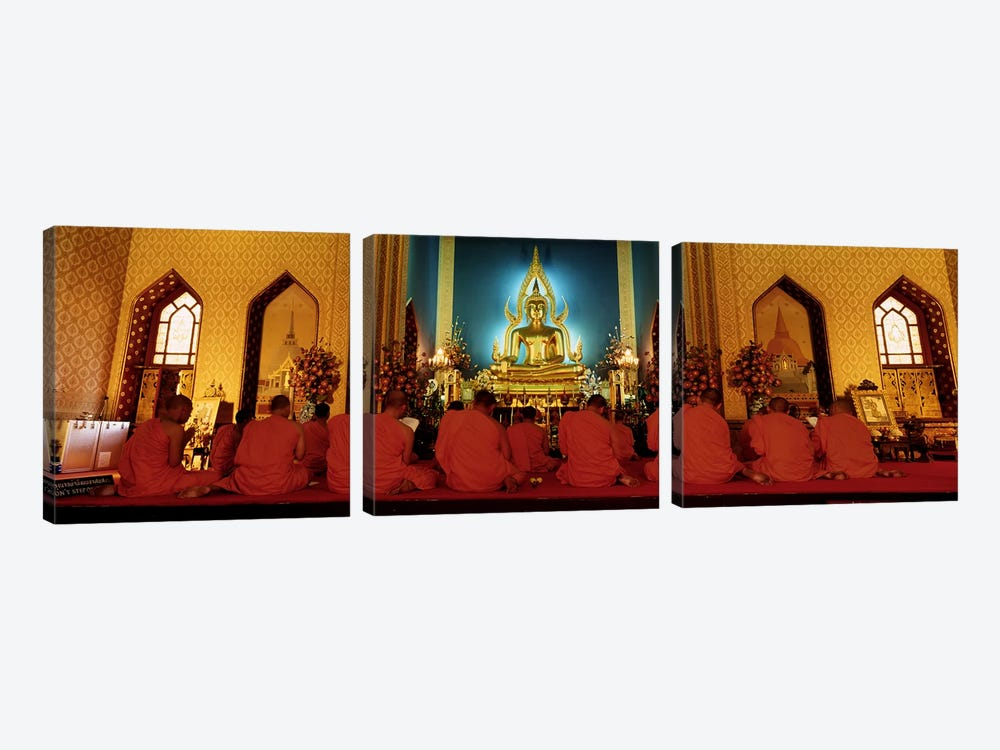 MonksBenchamapophit Wat, Bangkok, Thailand by Panoramic Images 3-piece Canvas Wall Art