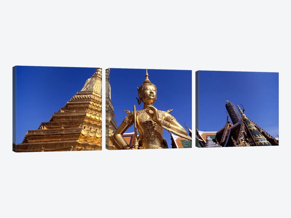 Low angle view of a statueWat Phra Kaeo, Grand Palace, Bangkok, Thailand by Panoramic Images 3-piece Canvas Print
