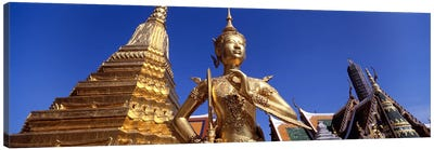 Low angle view of a statueWat Phra Kaeo, Grand Palace, Bangkok, Thailand Canvas Art Print