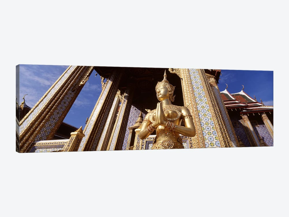 Low angle view of a statueWat Phra Kaeo, Grand Palace, Bangkok, Thailand 1-piece Canvas Artwork