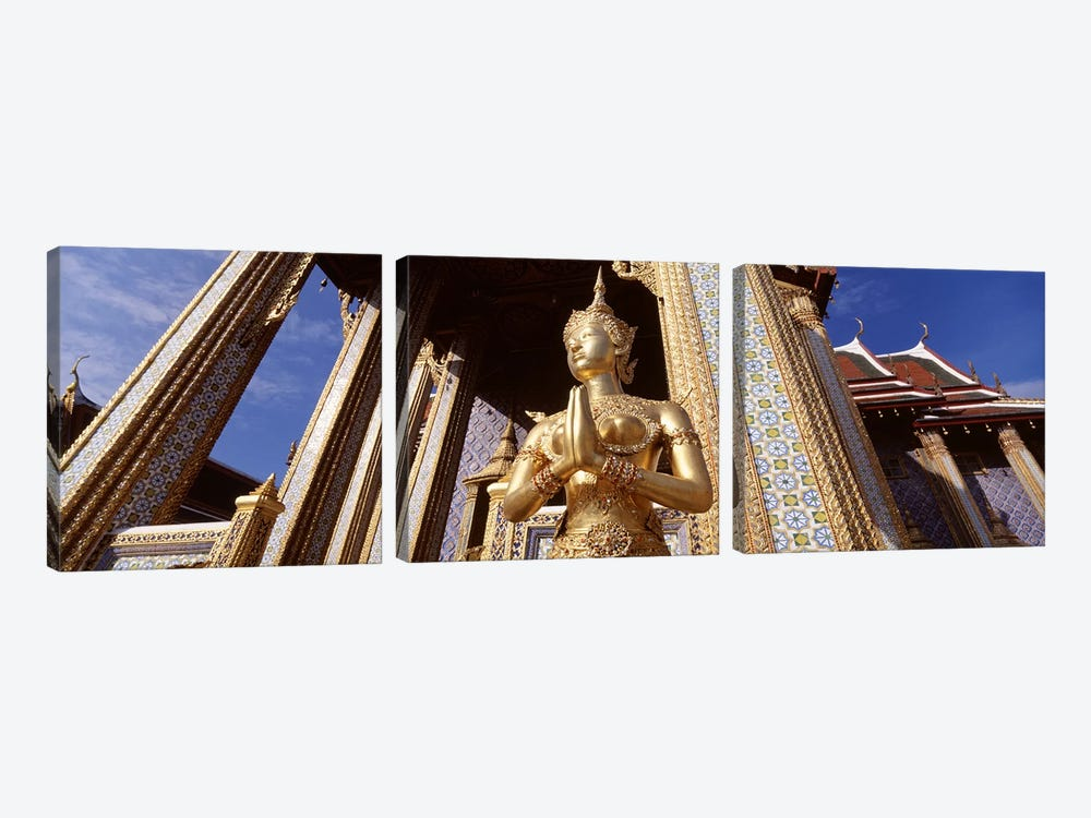 Low angle view of a statueWat Phra Kaeo, Grand Palace, Bangkok, Thailand 3-piece Canvas Artwork