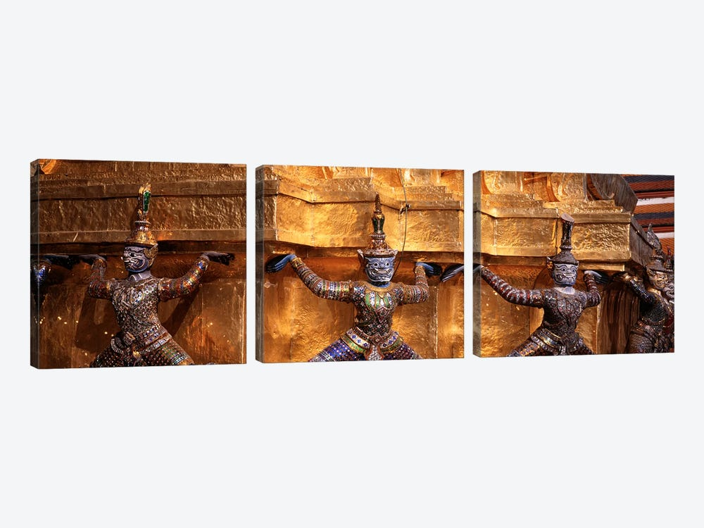 Close-up of statues in a templeGrand palace, Bangkok, Thailand 3-piece Canvas Print