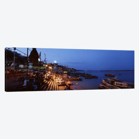 Ghat Along The Ganges At Night, Varanasi, Uttar Pradesh, India Canvas Print #PIM4347} by Panoramic Images Art Print