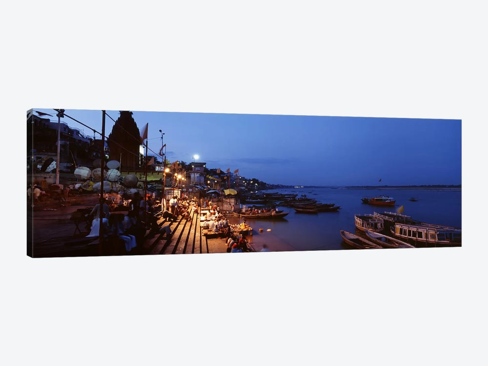 Ghat Along The Ganges At Night, Varanasi, Uttar Pradesh, India by Panoramic Images 1-piece Canvas Art Print