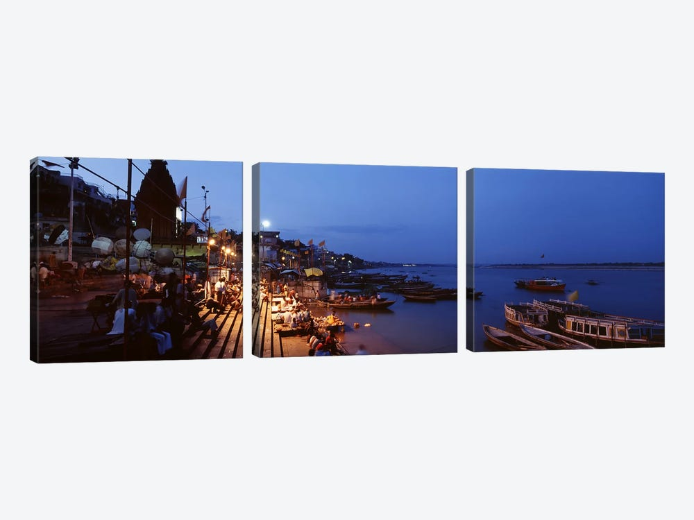 Ghat Along The Ganges At Night, Varanasi, Uttar Pradesh, India by Panoramic Images 3-piece Canvas Art Print