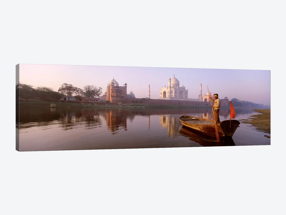 Gondolier And His Gondola, Yamuna River, Agra, Uttar Pradesh, India by Panoramic Images 1-piece Canvas Art
