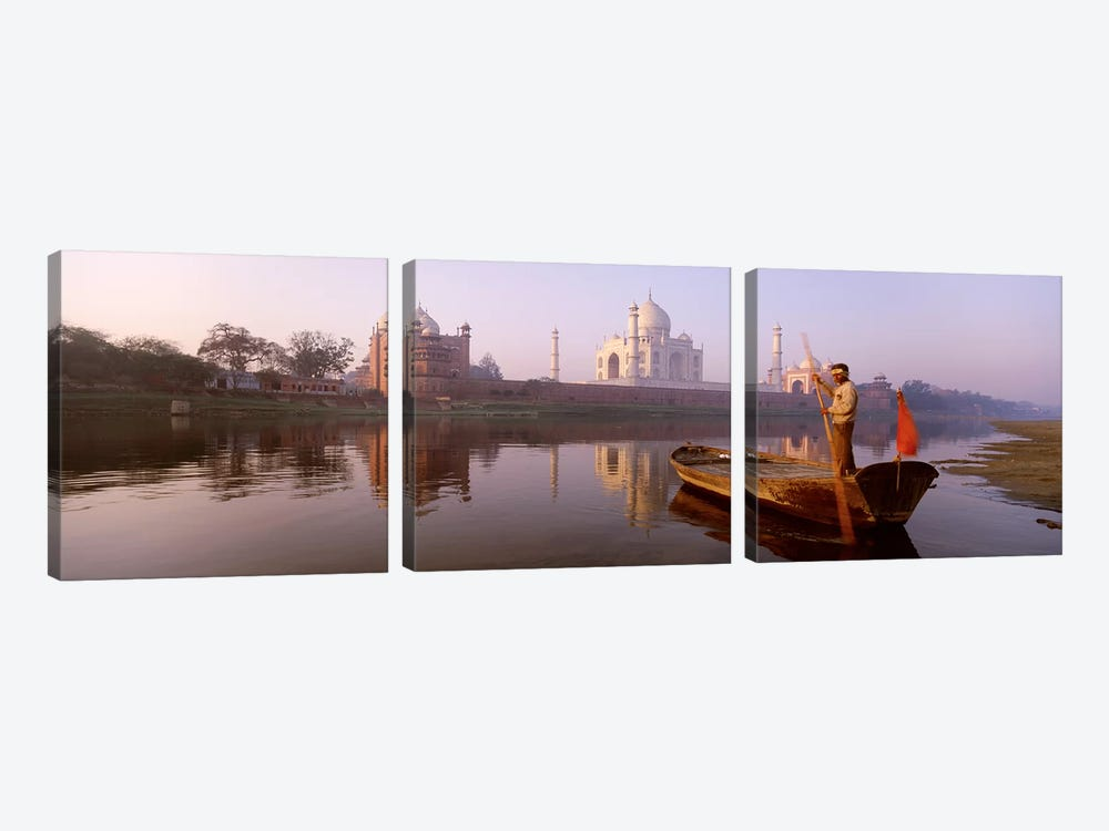 Gondolier And His Gondola, Yamuna River, Agra, Uttar Pradesh, India by Panoramic Images 3-piece Canvas Wall Art
