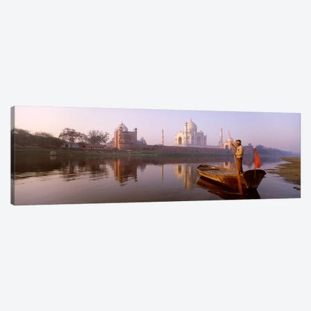Gondolier And His Gondola, Yamuna River, Agra, Uttar Pradesh, India Canvas Print #PIM4348} by Panoramic Images Canvas Art