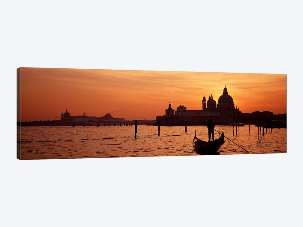 Silhouette of a person on a gondola with a church in background, Santa Maria Della Salute, Grand Canal, Venice, Italy by Panoramic Images 1-piece Art Print