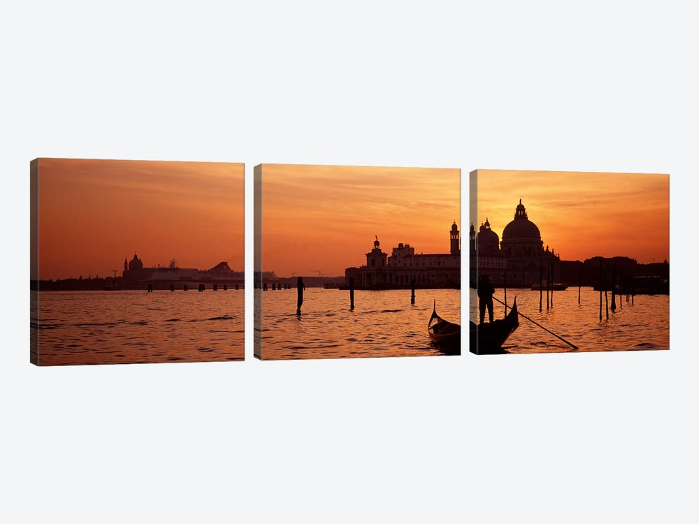 Silhouette of a person on a gondola with a church in background, Santa Maria Della Salute, Grand Canal, Venice, Italy by Panoramic Images 3-piece Canvas Art Print