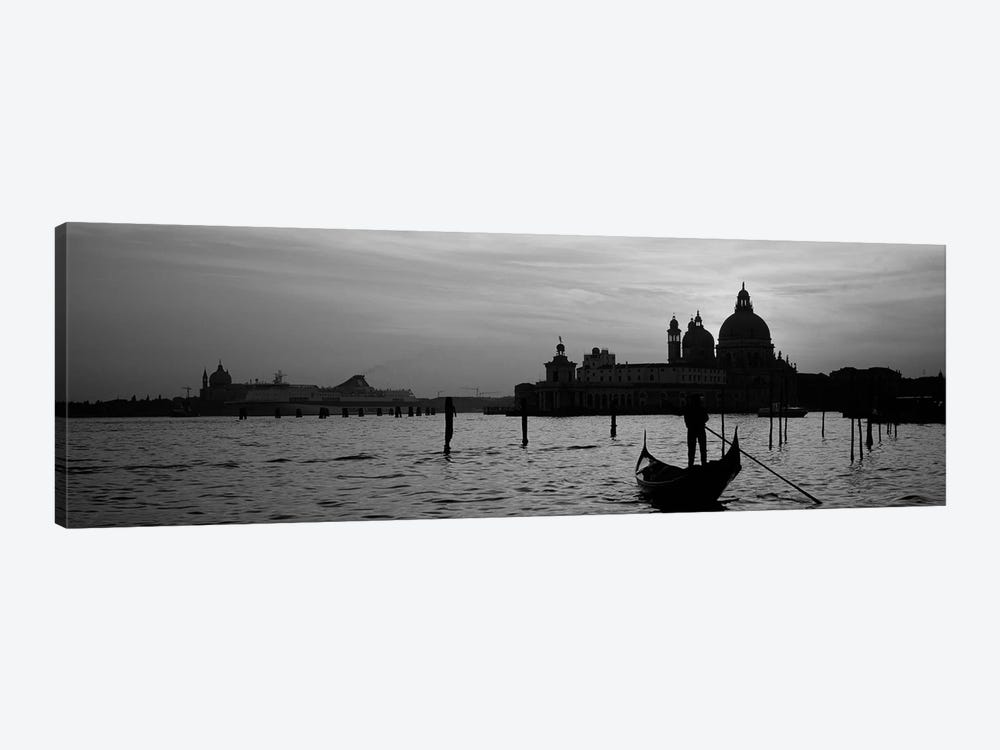 Silhouette of a person on a gondola with a church in background, Santa Maria Della Salute, Grand Canal, Venice, Italy (black & w by Panoramic Images 1-piece Art Print