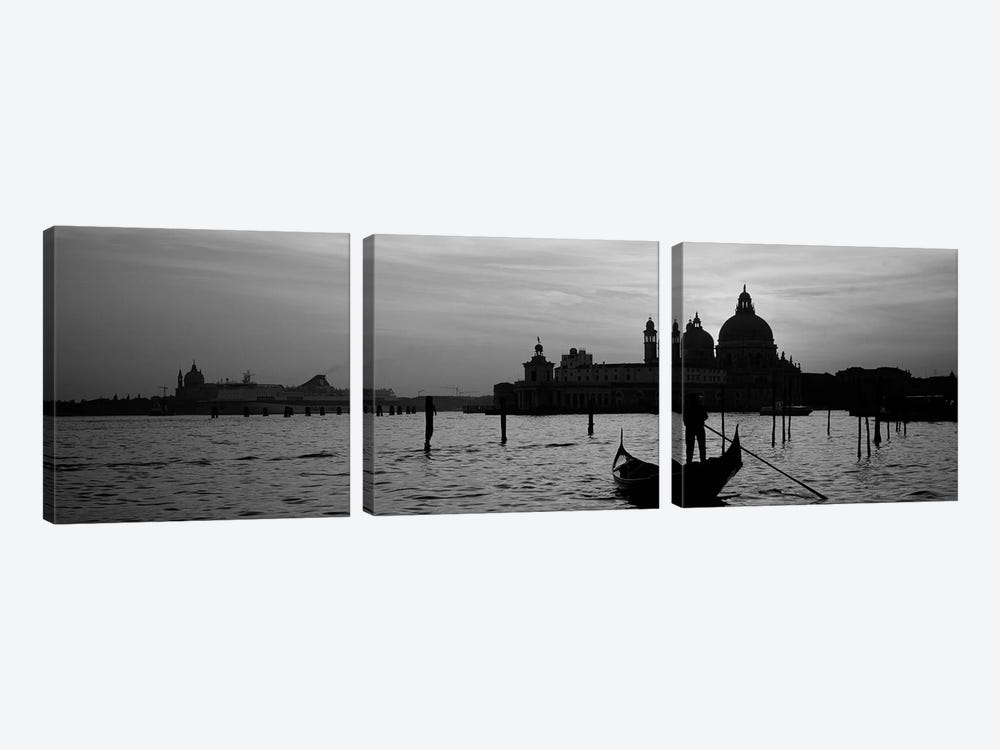 Silhouette of a person on a gondola with a church in background, Santa Maria Della Salute, Grand Canal, Venice, Italy (black & w by Panoramic Images 3-piece Canvas Art Print