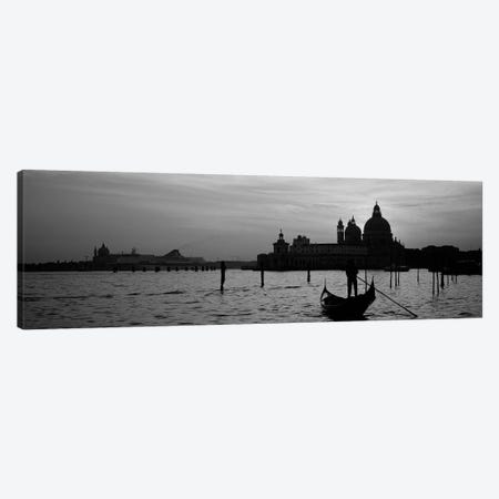 Santa Maria della Salute In B&W With A Gondoleer And His Boat On The Grand Canal In The Foreground, Venice, Italy 3-Piece Canvas #PIM4356bw} by Panoramic Images Canvas Wall Art