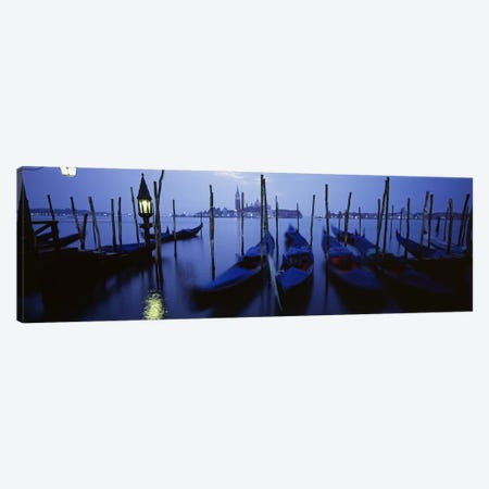 Moored Gondolas, Grand Canal, Venice, Italy Canvas Print #PIM4360} by Panoramic Images Canvas Artwork