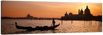 Silhouette of a gondola in a canal at sunset, Santa Maria Della Salute, Venice, Italy Canvas Print #PIM4361