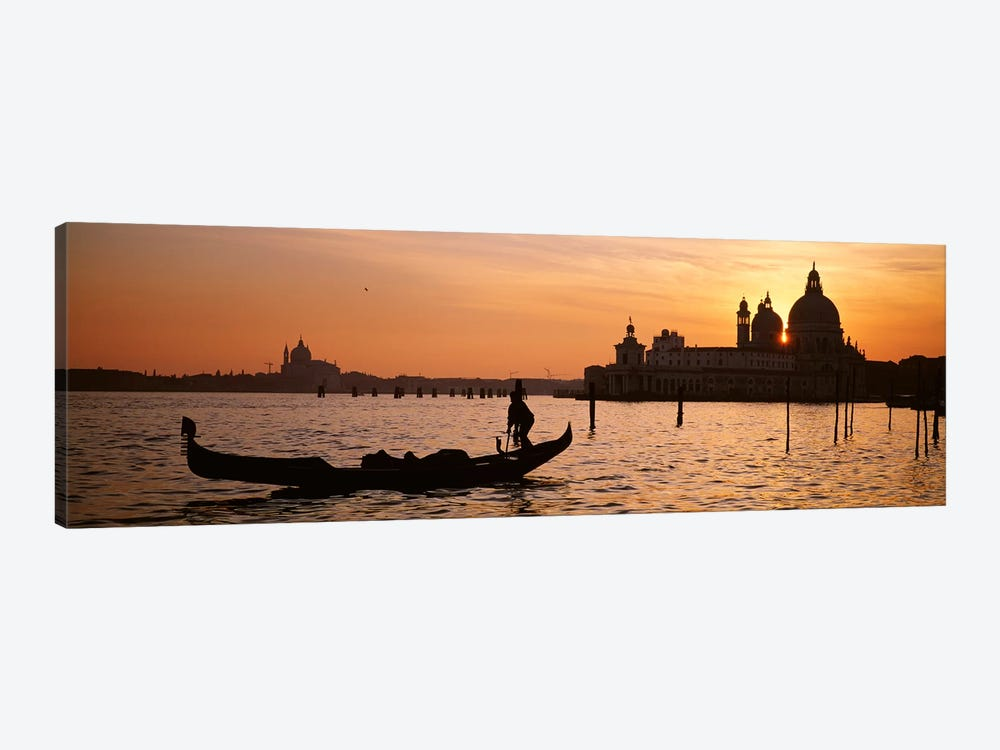 Silhouette of a gondola in a canal at sunset, Santa Maria Della Salute, Venice, Italy 1-piece Canvas Print