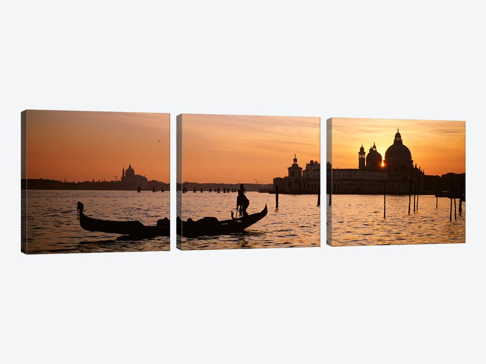 Silhouette of a gondola in a canal at sunset, Santa Maria Della Salute, Venice, Italy by Panoramic Images 3-piece Canvas Print