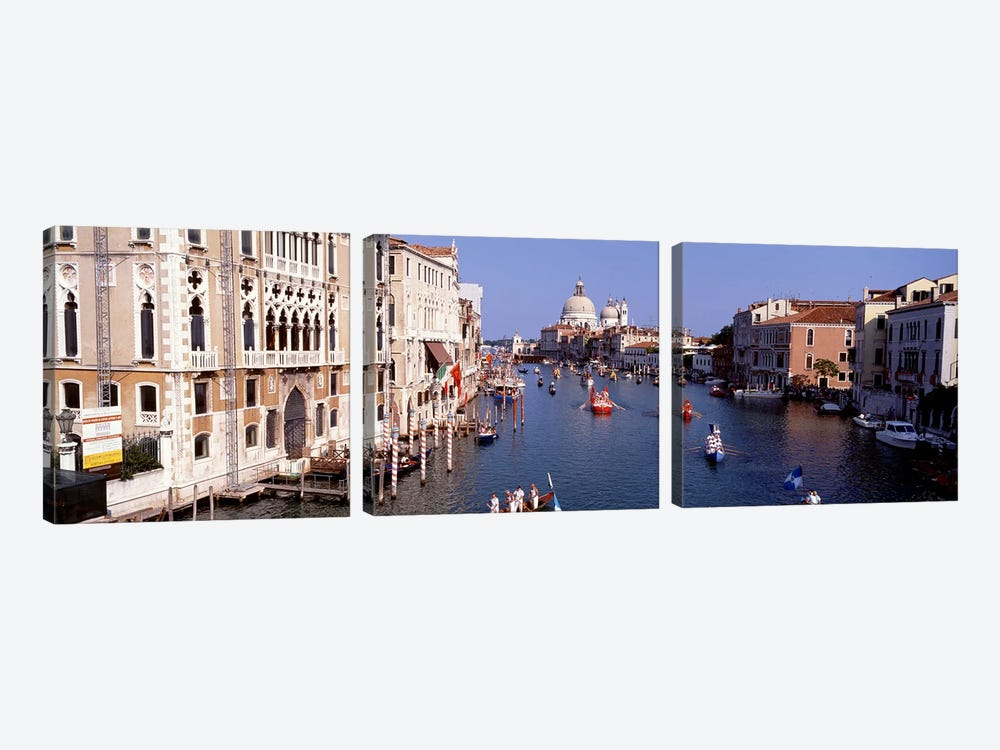 Daily Gondola Activity On The Grand Canal, Venice, Italy by Panoramic Images 3-piece Canvas Art