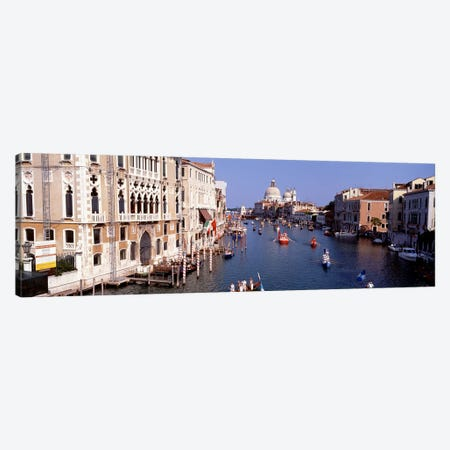 Daily Gondola Activity On The Grand Canal, Venice, Italy Canvas Print #PIM4368} by Panoramic Images Canvas Artwork