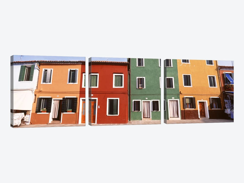 Richly Colored Buildings, Burano, Venetian Lagoon, Italy by Panoramic Images 3-piece Art Print