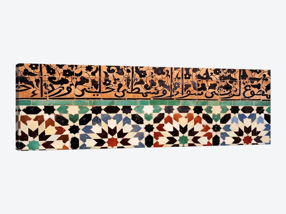 Close-up of design on a wall, Ben Youssef Medrassa, Marrakesh, Morocco by Panoramic Images 1-piece Canvas Wall Art