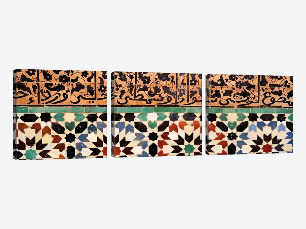 Close-up of design on a wall, Ben Youssef Medrassa, Marrakesh, Morocco by Panoramic Images 3-piece Canvas Artwork